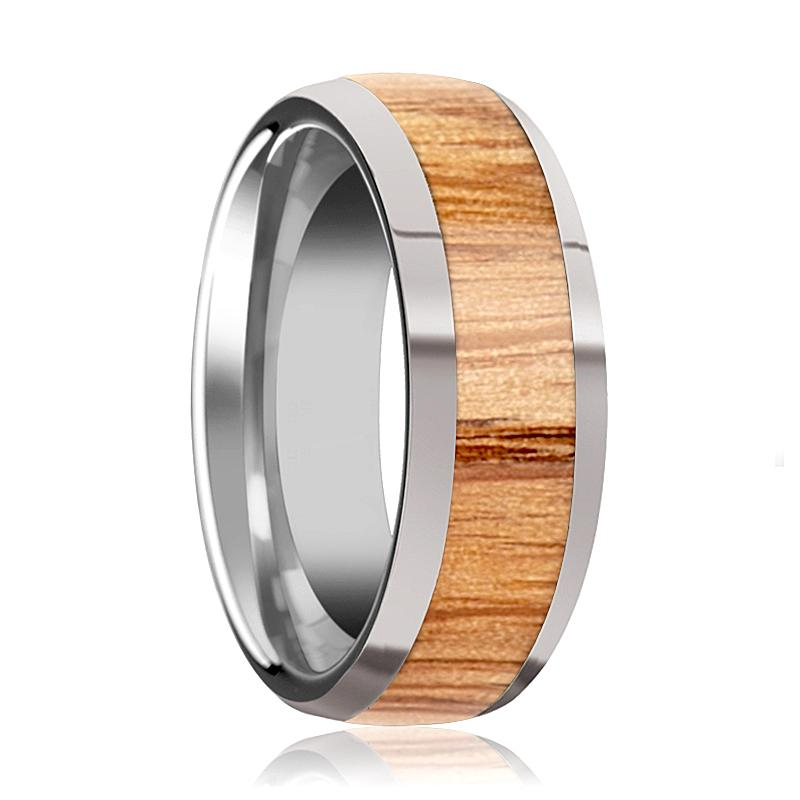 Tungsten Wood Ring - Red Oak Wood Inlay - Polished Edges - 8mm - Tungsten Carbide Wedding Ring - AydinsJewelry