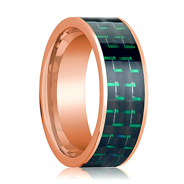 Mens Wedding Band 14K Rose Gold with Black & Green Carbon Fiber Inlay Flat Polished Design - AydinsJewelry
