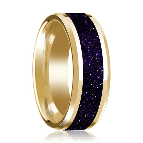 14K Yellow Gold Wedding Band with Purple Goldstone Inlaid Polished Beveled Edge - AydinsJewelry