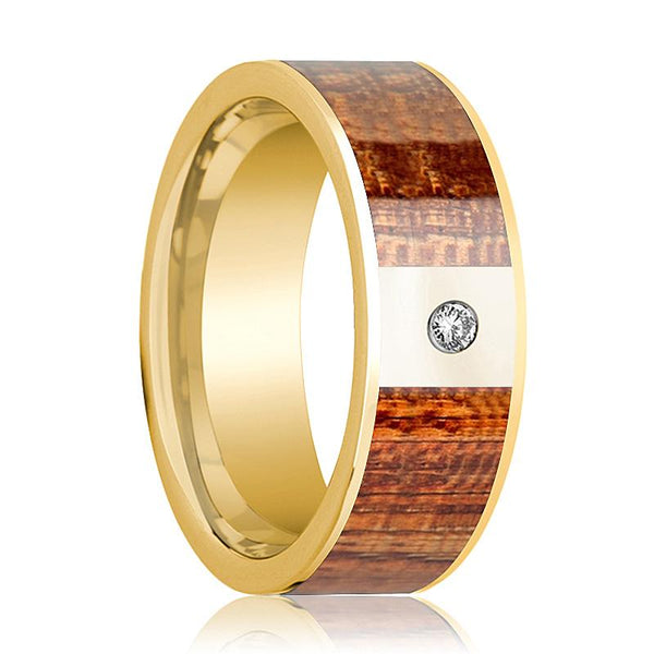 Mens Wedding Ring Polished 14k Yellow Gold Flat Wedding Band with Mahogany Wood Inlay & Diamond - 8mm - AydinsJewelry