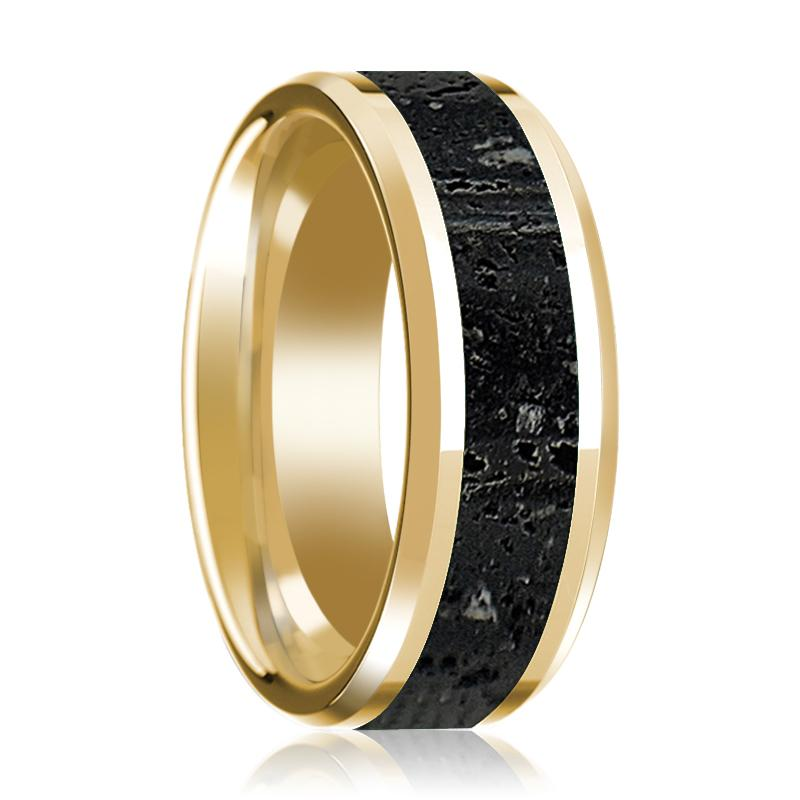 14K Wedding Band in Yellow Gold with Lava Inlay Beveled Edge Polished Design - AydinsJewelry
