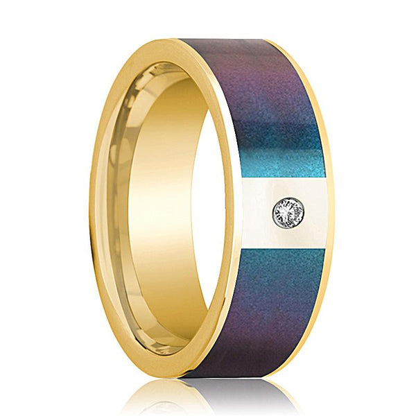 Mens Wedding Band 14K Yellow Gold with Blue/Purple Color Changing Inlaid and Diamond Flat Polished Design - AydinsJewelry