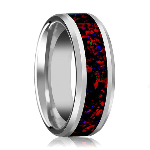 Image of Tungsten Opal Ring - Black Opal Inlay - Tungsten Wedding Band - Beveled - Polished Finish - 8mm - Tungsten Wedding Ring - AydinsJewelry