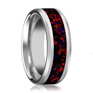Tungsten Opal Ring - Black Opal Inlay - Tungsten Wedding Band - Beveled - Polished Finish - 8mm - Tungsten Wedding Ring - AydinsJewelry
