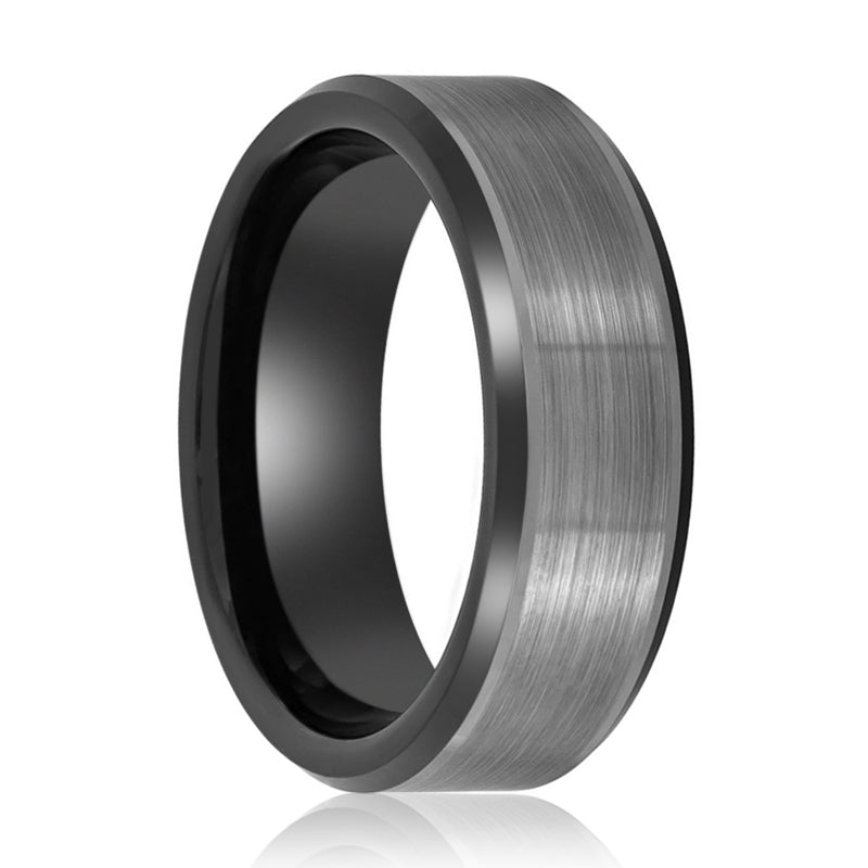 Two Tone Black Ring with Brushed Center Beveled Edges - 8MM