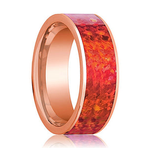 Mens Wedding Band 14K Rose Gold with Red Opal Inlay Flat Polished Design - AydinsJewelry