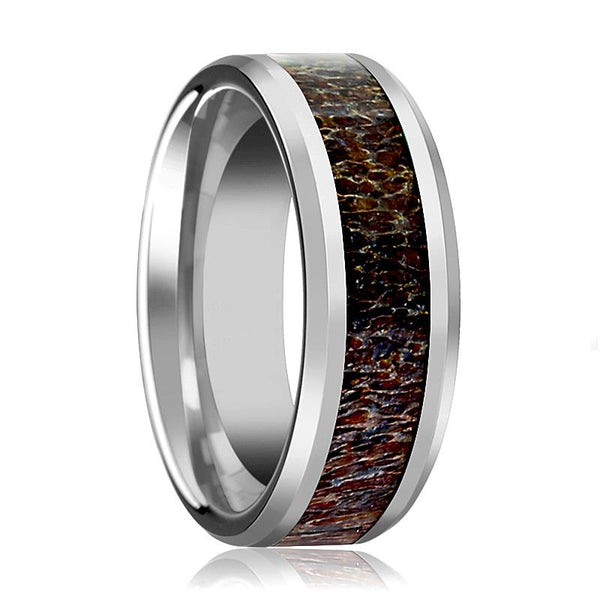 Tungsten Dark Brown Antler Inlay - Tungsten Wedding Band - Beveled - Polished Finish - 8mm - Tungsten Wedding Ring - AydinsJewelry