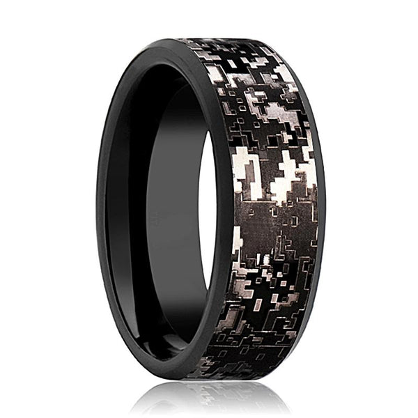 Camo Wedding Band - Black Tungsten - Black Digital Camo  - Tungsten Wedding Band - Beveled - Polished Finish - 8mm - Tungsten Wedding Ring - AydinsJewelry
