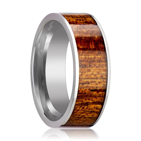 Image of Tungsten Wood Ring - Mahogany Hardwood Inlay - Polished Edges - 8mm - Tungsten Carbide Wedding Ring - AydinsJewelry
