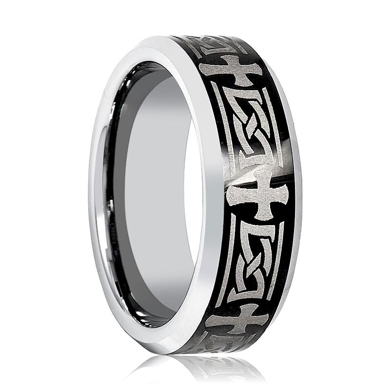 Celtic Cross Design Laser Engraved Tungsten Carbide Ring for Men with Beveled Edges - 8MM - Rings - Aydins_Jewelry