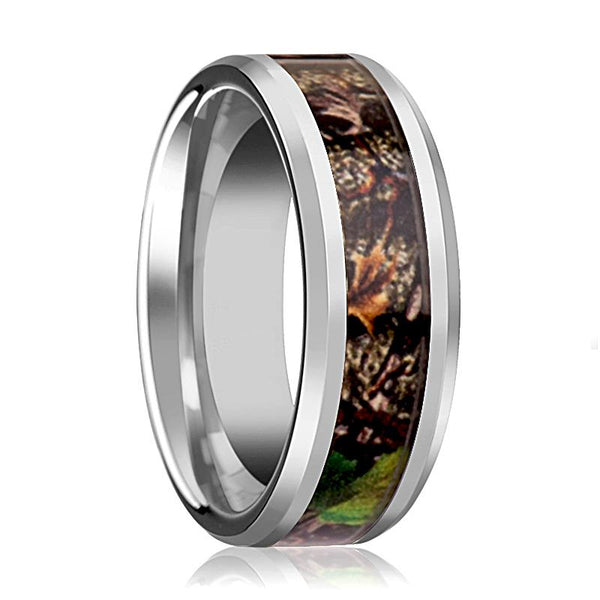 Tungsten Camo Ring - Tree Camo - Green Leaves Camo - Tungsten Wedding Band - Beveled - Polished Finish - 8mm - Tungsten Wedding Ring - AydinsJewelry