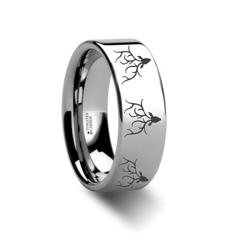 Animal Design Ring - Reindeer Deer Stag Head Print -  Laser Engraved - Flat Tungsten Ring - 4mm - 6mm - 8mm - 10mm - 12mm - AydinsJewelry