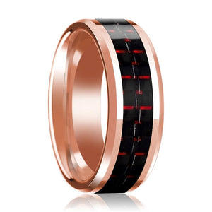14K Wedding Band Rose Gold with Black & Red Carbon Fiber Inlay Beveled Edges Polished Ring - Rings - Aydins_Jewelry