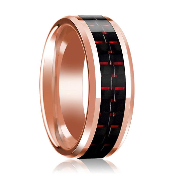 14K Wedding Band Rose Gold with Black & Red Carbon Fiber Inlay Beveled Edges Polished Ring - AydinsJewelry