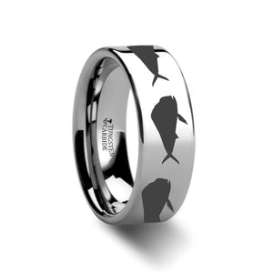 Sea Pattern - Mahi Fish Jumping - Sea Print Ring - Laser Engraved - Flat Tungsten Ring - 4mm - 6mm - 8mm - 10mm - 12mm - AydinsJewelry