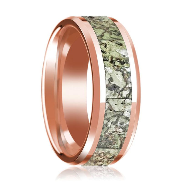 Green Dinosaur Bone Inlay Ring Beveled Edges with Polished 14K Rose Gold 8mm Wedding Band