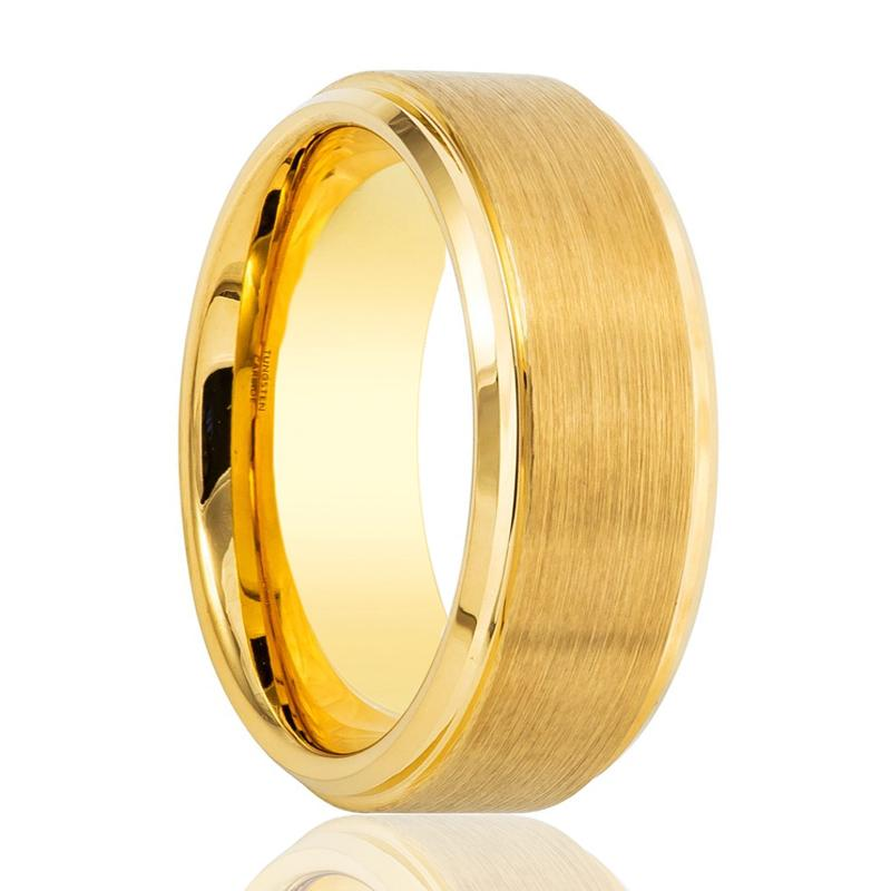 Gold Brushed Stepped Edge Tungsten Ring Wedding Band 6mm, 8mm Tungsten Carbide Wedding Ring - Rings - Aydins_Jewelry