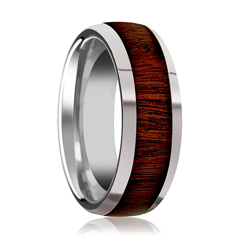 Tungsten Wood Ring - Rose Wood Inlay - Tungsten Wedding Band - Polished Finish - 8mm - Tungsten Carbide Wedding Ring - AydinsJewelry