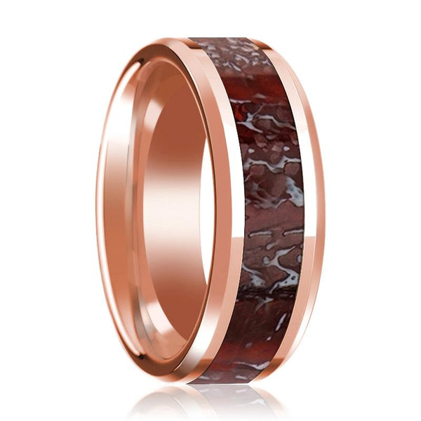 Red Dinosaur Bone Inlay Wedding Ring Beveled and Polished 14K Rose Gold 8mm Band