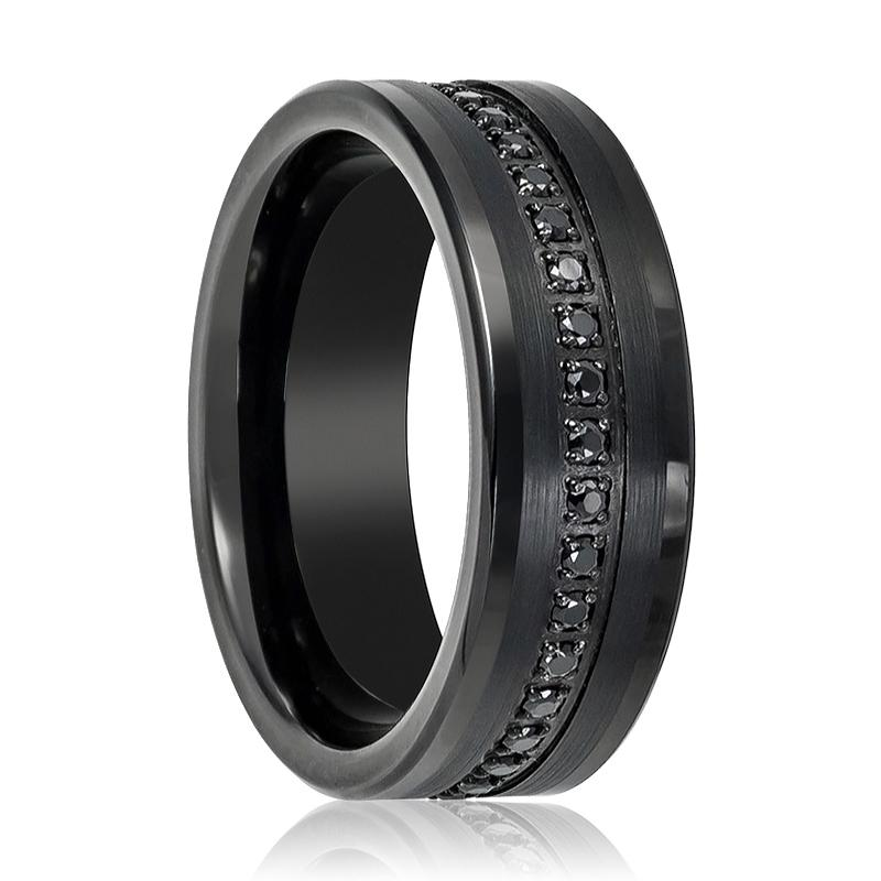 Black CZ Eternity Flat Men's Pinky Ring with a Center Groove of Inset Black Sapphire - Rings - Aydins_Jewelry