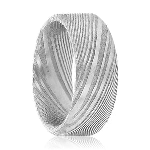 MIEL Natural Damascus Steel Men's Wedding Band with Beveled Edges & Brushed Finish - 6MM - 8MM