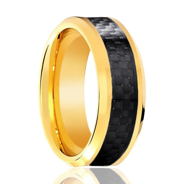 Aydins Gold Tungsten Ring High Polished Wedding Band w/ Black Carbon Fiber Inlay 6mm, 8mm Tungsten Carbide Wedding Ring - AydinsJewelry