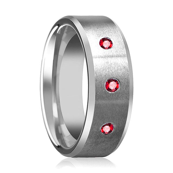 Red Ruby Wedding Ring - Tungsten Ring - Silver Tungsten - Satin Finish - Beveled Edge - Brushed Tungsten - 3 Rubies - Tungsten Wedding Band