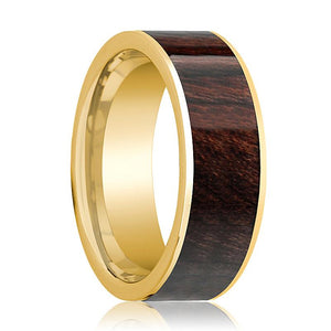 Mens Wedding Band 14k Yellow Gold & Bubinga Wood Inlaid Polished Finish  - 8mm - AydinsJewelry
