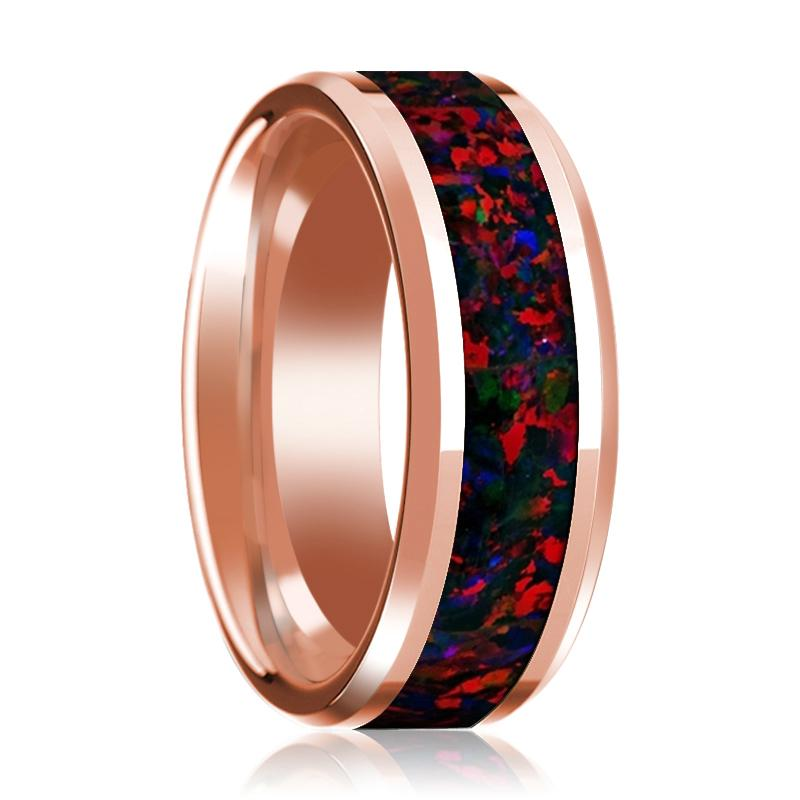 Black & Red Opal Inlaid 14k Rose Gold Polished Wedding Band for Men with Beveled Edges - 8MM - Rings - Aydins_Jewelry