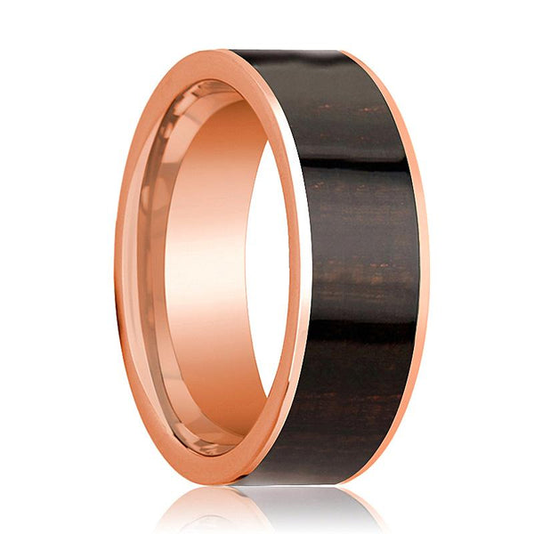 Mens Wedding Band Polished Flat 14k Rose Gold Wedding Ring with Ebony Wood Inlay - 8mm - AydinsJewelry