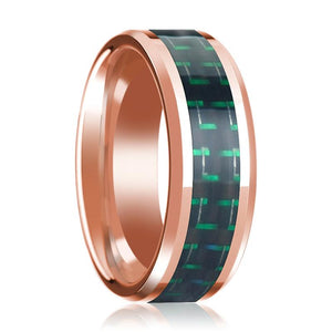 14K Rose Gold Wedding Ring with Black & Green Carbon Fiber Inlay Beveled Polished Design - Rings - Aydins_Jewelry