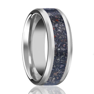 HORACIO Men's Polished Tungsten Wedding Band with Black Dinosaur Bone Inlay & Beveled Edges - 8MM - Rings - Aydins_Jewelry