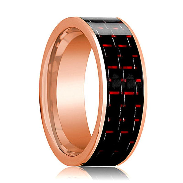 Mens Wedding Band 14K Rose Gold with Black & Red Carbon Fiber Inlay Flat Polished Design - AydinsJewelry