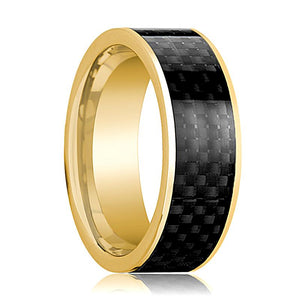 Mens Wedding Band 14K Yellow Gold with Black Carbon Fiber Inlay Flat Polished Design - AydinsJewelry