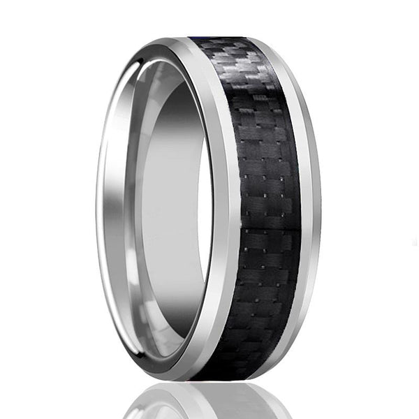 Aydins Mens & Womens Tungsten Wedding Band w/ Black Carbon Fiber Inlay 6mm, 8mm Tungsten Carbide Ring - AydinsJewelry