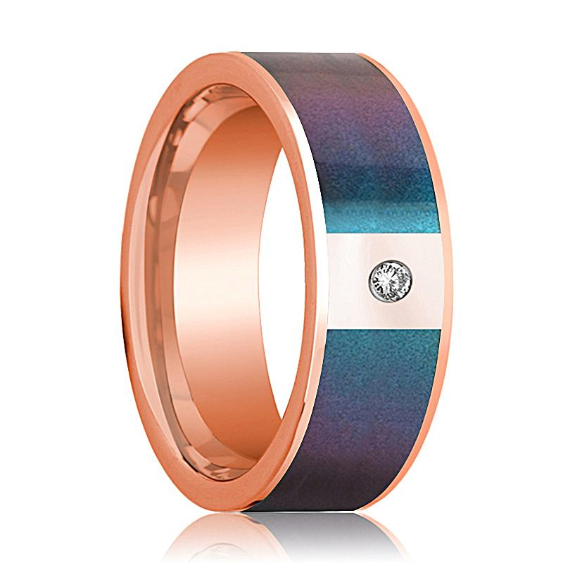 Mens Wedding Band 14K Rose Gold with Blue/Purple Color Changing Inlaid and Diamond Flat Polished Design - AydinsJewelry