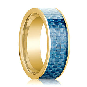 Mens Wedding Band 14K Yellow Gold with Blue Carbon Fiber Inlay Flat Polished Design - AydinsJewelry