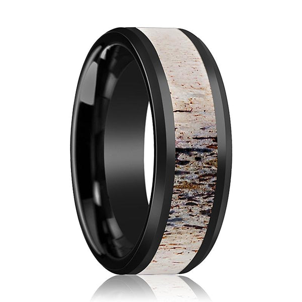 Black Ceramic Ring - Ombre Antler Inlay - Ceramic Wedding Band - Beveled - Polished Finish - 8mm - Ceramic Wedding Ring - AydinsJewelry