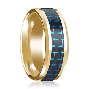 Mens Wedding Band Black & Blue Carbon Fiber Inlay with 14K Yellow Gold Beveled Edge Polished Design
