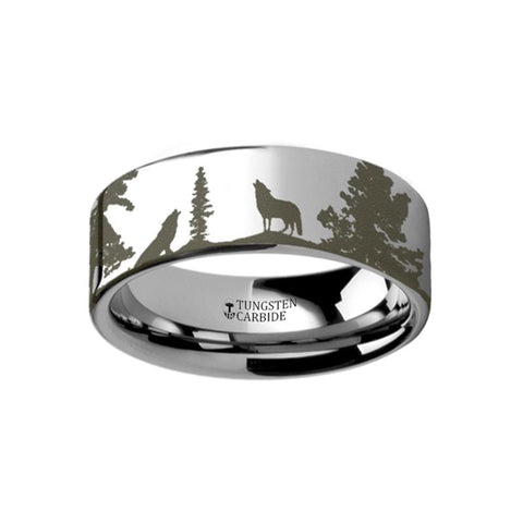 Image of Animal Landscape Scene Wolf and Deer Stag Mountain Rage Engraved Flat Tungsten Ring - Rings - Aydins_Jewelry