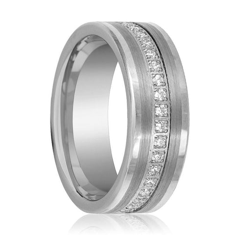 Image of Flat Tungsten Eternity Wedding Ring for Men with Cubic Zirconia in Brushed Center - 8MM - Rings - Aydins_Jewelry