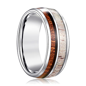 ALFA Wood and Deer Antler Inlay Silver Tungsten Men's Wedding Band Beveled Edge - Rings - Aydins_Jewelry