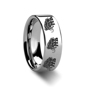 Dinosaur Mammoth Laser Engraved Tungsten Wedding Band - Rings - Aydins_Jewelry