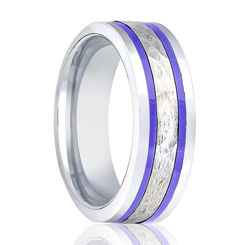 Aydins Tungsten Wedding Band Pipe Cut Hammered Center w/ Two Blue Hue Trims 8mm Tungsten Carbide Ring - Rings - Aydins_Jewelry