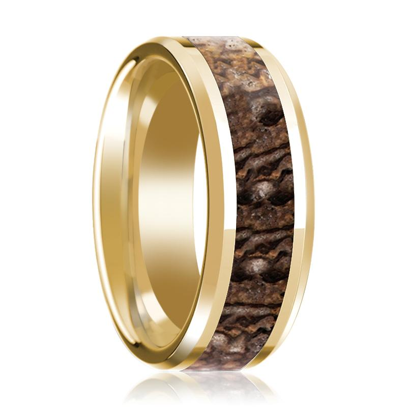 ACHEULIAN Brown Dinosaur Bone Inlay 14k Yellow Gold Men's Wedding Band with Beveled Edges - 8MM - Rings - Aydins_Jewelry