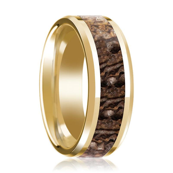 Dinosaur Bone Ring with Brown Dinosaur Bone Beveled Edge Polished 14K Yellow Gold Wedding Ring 8mm - AydinsJewelry
