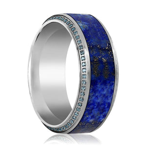 EMPEROR Lapis Lazuli Blue Diamond Titanium Wedding Ring - Rings - Aydins_Jewelry