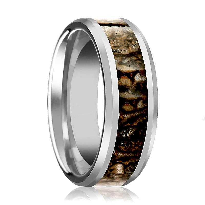 CHOMPER Silver Tungsten Carbide Couple Matching Ring with Brown Dinosaur Bone Inlay & Bevels - 4MM - 8MM - Rings - Aydins_Jewelry