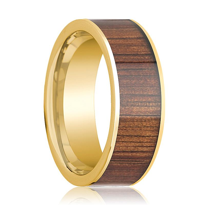 Mens Wedding Ring 14K Pipe Cut Yellow Gold Ring Wedding Band with Rare Koa Wood Inlay and Polished Edges - 8mm - AydinsJewelry