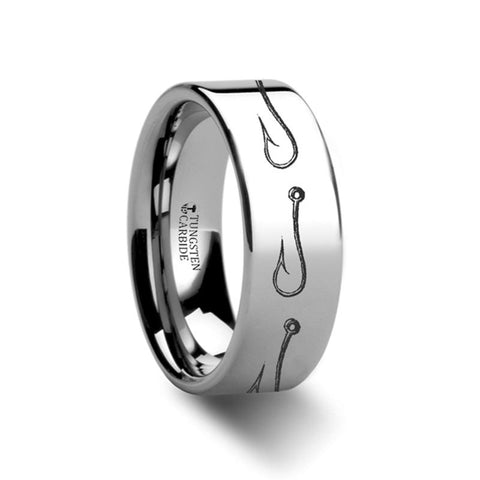 Image of Fishing Hook Sea Pattern Print Laser Engraved Flat Tungsten Carbide Ring for Men and Women - 4MM - 12MM - Rings - Aydins_Jewelry